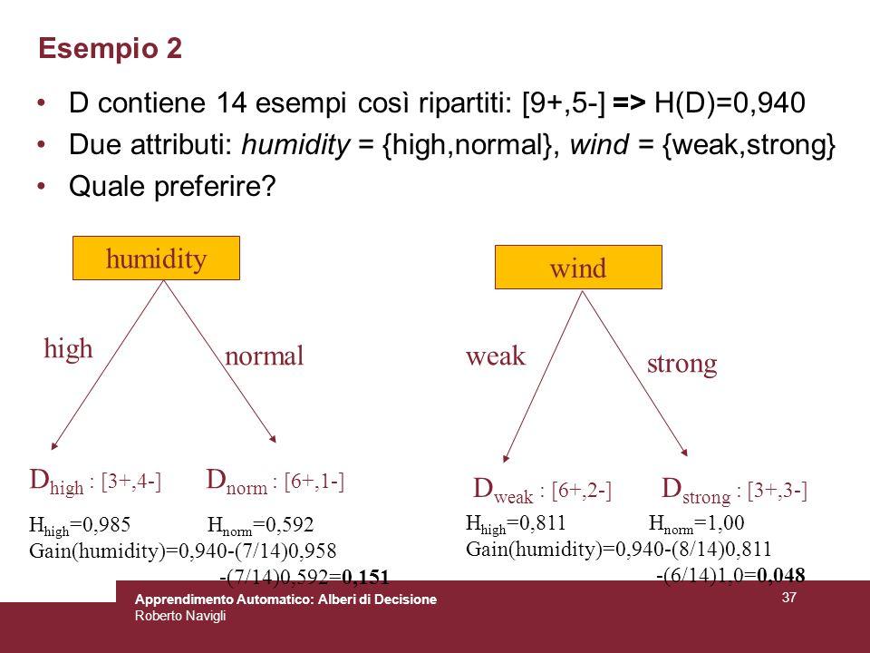 D contiene 14 esempi così ripartiti: [9+,5-] => H(D)=0,940